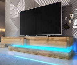 TV Lowboard Bird in WotanEiche Dekor 2-teilig 140 x 45 cm hängend mit Beleuchtung
