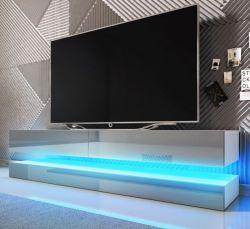 TV Lowboard Bird in grau Hochglanz 2-teilig 140 x 45 cm hängend mit Beleuchtung
