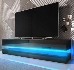 TV Lowboard Bird in schwarz Hochglanz 2-teilig 140 x 45 cm hängend mit Beleuchtung