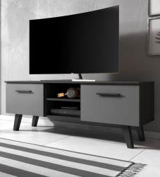 TV-Lowboard Jenrik in matt schwarz und grau Fernsehtisch skandinavisch 140 x 52 cm TV-Unterteil