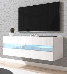TV-Lowboard Rial in weiß Hochglanz hängend 100 x 35 cm mit LED Beleuchtung