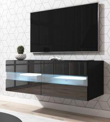 TV-Lowboard Rial in schwarz Hochglanz hängend 100 x 35 cm mit LED Beleuchtung