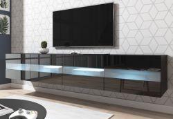 TV-Lowboard Rial in Hochglanz schwarz TV-Unterteil hängend 200 x 35 cm inkl. Beleuchtung in blau