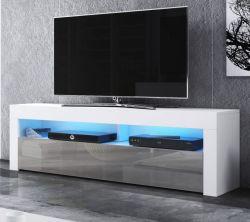 TV-Lowboard Live in grau Hochglanz und weiß 160 x 50 cm mit LED Beleuchtung