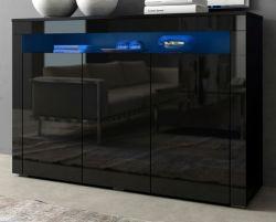 Sideboard Sally in schwarz Hochglanz inkl. LED-Beleuchtung - Kommode 130 x 88 cm