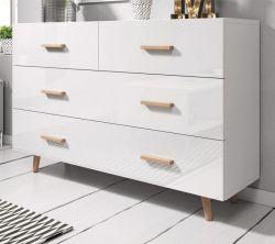 Kommode Norway-2 in Hochglanz weiß und Buche massiv Schubladenkommode skandinavisch 125 x 80 cm Sideboard