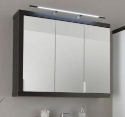 Badezimmer: Spiegelschrank Sunrise rauchsilber, grau, 3-türig (90x72 cm)