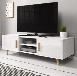 TV-Lowboard Norway-2 in Hochglanz weiß und Buche massiv TV-Unterteil skandinavisch 140 x 50 cm