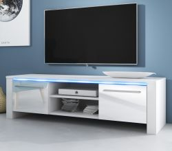 TV-Lowboard Harlem in weiß Hochglanz mit LED Beleuchtung 140 x 40 cm