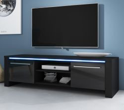 TV-Lowboard Harlem in Hochglanz schwarz TV-Unterteil 140 x 40 cm inkl. LED Beleuchtung in blau