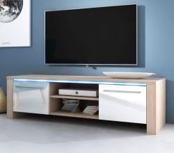 TV-Lowboard Harlem in Hochglanz weiß und Sonoma Eiche hell TV-Unterteil 140 x 40 cm inkl. LED Beleuchtung in blau