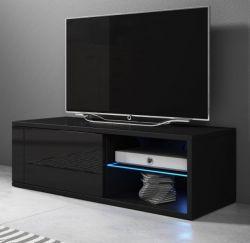 TV-Lowboard Top-B in Hochglanz schwarz TV-Unterteil 100 x 36 cm inkl. LED Beleuchtung Fernsehtisch