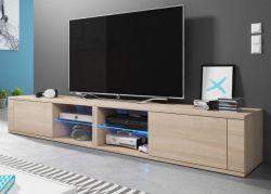 TV-Lowboard Top-B in Sonoma Eiche hell TV-Unterteil 200 x 36 cm inkl. LED Beleuchtung Fernsehtisch