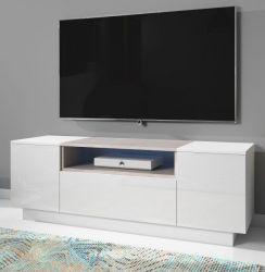 TV-Lowboard Foxx in Hochglanz weiß und Stone Design grau TV-Unterteil 140 x 48 cm inkl. LED Beleuchtung