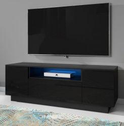 TV-Lowboard Foxx in Hochglanz schwarz TV-Unterteil 140 x 48 cm inkl. LED Beleuchtung