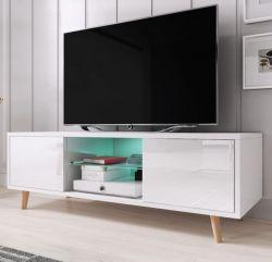 TV-Lowboard Norway-1 in weiß Hochglanz - Fernsehtisch skandinavisch 140 x 45 cm