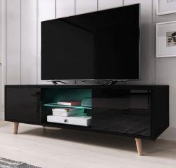 TV-Lowboard Norway-1 in schwarz Hochglanz - Fernsehtisch skandinavisch 140 x 45 cm