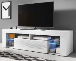 TV-Lowboard Mount in Hochglanz weiß TV-Unterteil 160 x 50 cm TV-Möbel