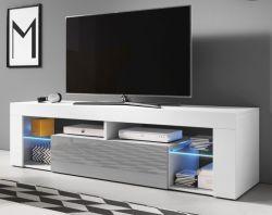 TV-Lowboard Mount in Hochglanz grau und weiß TV-Unterteil 160 x 50 cm TV-Möbel