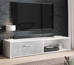 TV-Lowboard Start in Stone Design grau und weiß TV-Unterteil 140 x 29 cm TV Board Betonoptik