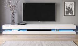 TV-Lowboard Bird in Hochglanz weiß TV-Unterteil 4-teilig XXL-Board 280 cm hängend inkl. Beleuchtung