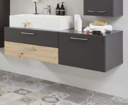 Waschbeckenunterschrank One in grau matt Lack und Eiche / Asteiche Waschtisch inkl. Waschbecken 2-teilig 140 x 55 cm