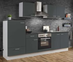 Küchenblock Einbauküche White Classic Graphit grau inkl. E-Geräte 270 cm