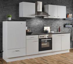 Küchenblock Einbauküche White Classic weiß inkl. E-Geräte 270 cm