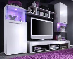 Wohnzimmer: Wohnwand Punch Hochglanz weiß (228 x 185 cm) inkl. LED-Beleuchtung