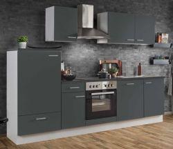 Küchenblock Einbauküche White Classic Graphit grau inkl. E-Geräte und Geschirrspüler 270 cm