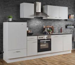 Küchenblock Einbauküche White Classic weiß inkl. E-Geräte und Geschirrspüler 270 cm