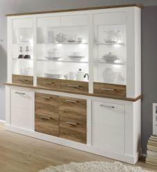 Wohnzimmer: Anrichte Toronto Pinie weiß, Nussbaum Satin Elemente Buffet (210x210 cm)