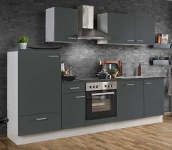 Küchenblock Einbauküche White Classic Graphit grau inkl. E-Geräte und Geschirrspüler 280 cm