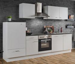 Küchenblock Einbauküche White Classic weiß inkl. E-Geräte, Ceranfeld und Geschirrspüler 280 cm