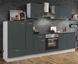 Küchenblock Einbauküche White Classic Graphit grau inkl. E-Geräte und Apothekerschrank 300 cm