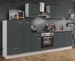 Küchenblock Einbauküche White Classic Graphit grau inkl. E-Geräte + Geschirrspüler und Apothekerschrank 300 cm