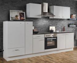 Küchenblock Einbauküche White Classic weiß inkl. E-Geräte und Apothekerschrank 300 cm
