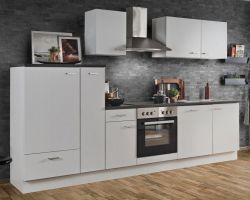 Küchenblock Einbauküche White Classic weiß inkl. E-Geräte + Geschirrspüler und Apothekerschrank 300 cm