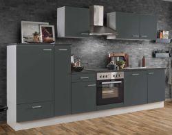 Küchenblock Einbauküche White Classic Graphit grau inkl. E-Geräte + Geschirrspüler und Apothekerschrank 310 cm