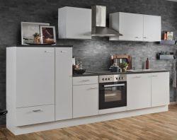 Küchenblock Einbauküche White Classic weiß inkl. E-Geräte + Geschirrspüler und Apothekerschrank 310 cm