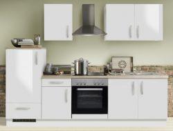 Küchenblock Einbauküche White Premium weiß Hochglanz Lack inkl. E-Geräte 270 cm
