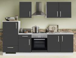 Küchenblock Einbauküche White Premium Schiefer grau inkl. E-Geräte 270 cm