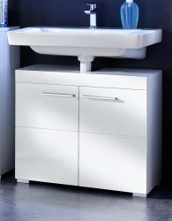 Waschbeckenunterschrank Amanda Hochglanz weiß, 2-türig (60 x 56 cm)