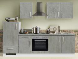 Küchenblock Einbauküche White Premium Beton-Optik inkl. E-Geräte 270 cm