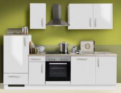 Küchenblock Einbauküche White Premium weiß Hochglanz Lack inkl. E-Geräte und Geschirrspüler 270 cm
