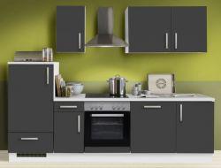 Küchenblock Einbauküche White Premium Schiefer grau inkl. E-Geräte und Geschirrspüler 270 cm