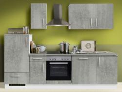 Küchenblock Einbauküche White Premium Beton-Optik inkl. E-Geräte und Geschirrspüler 270 cm