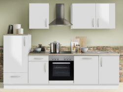 Küchenblock Einbauküche White Premium weiß Hochglanz Lack inkl. E-Geräte und Geschirrspüler 280 cm