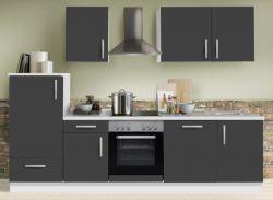 Küchenblock Einbauküche White Premium Schiefer grau inkl. E-Geräte und Geschirrspüler 280 cm