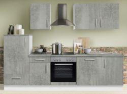 Küchenblock Einbauküche White Premium Beton-Optik inkl. E-Geräte und Geschirrspüler 280 cm